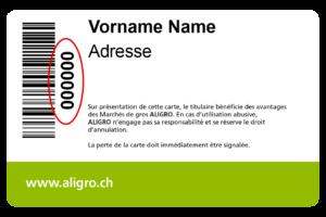 Wo befindet sich die Kundennummer auf der ALIGRO-Karte